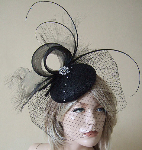 Black Curled Quills and Swarovski Crystals Russian Veil Button Headpiece MV177