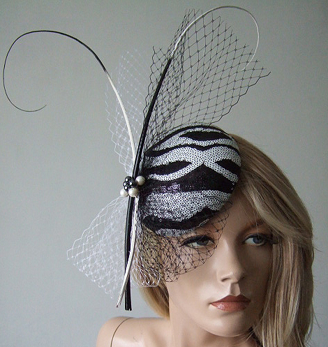 "Black White Zebra Sequin Veil Quills Cocktail Hat Button Headpiece Fascinator ""Natali"""