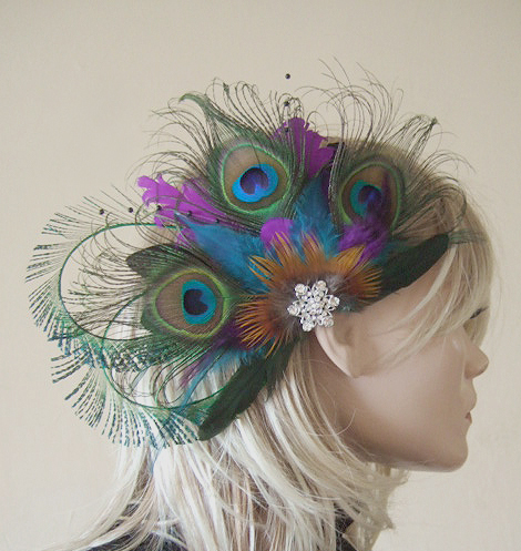 Bridal Curled Peacock Feathers Teal Purple Hair Headpiece Clip Fascinator MNB117