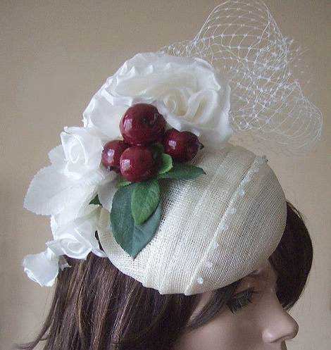 Cream Ivory Silk Rose Fascinator with Crystals & Cherry Cherries Large Button Headpiece