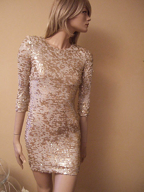 French Connection Gold Cream Sequin Princess Dress