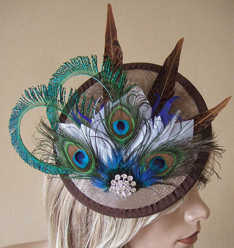 Gold Peacock Browns and White Feathered and Crystal Saucer Fascinator Hatinator Hat
