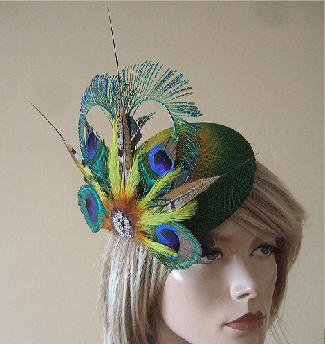 Green & Yellow Peacock Feathers with Crystal Brooch Ombre Fascinator for the Races, Ascot, Derby, Mother of the Bride