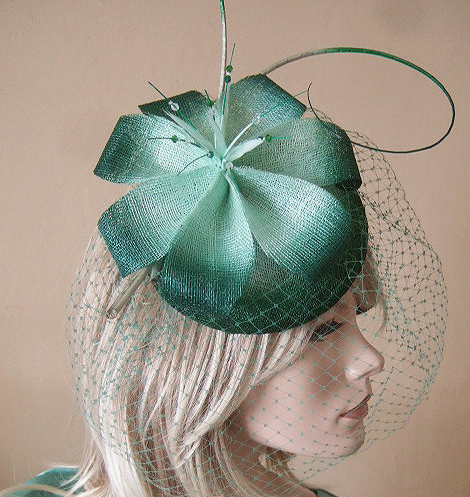 Mint and Kelly Green Ombre Veiled and Crystal Large Button Headpiece Fascinator