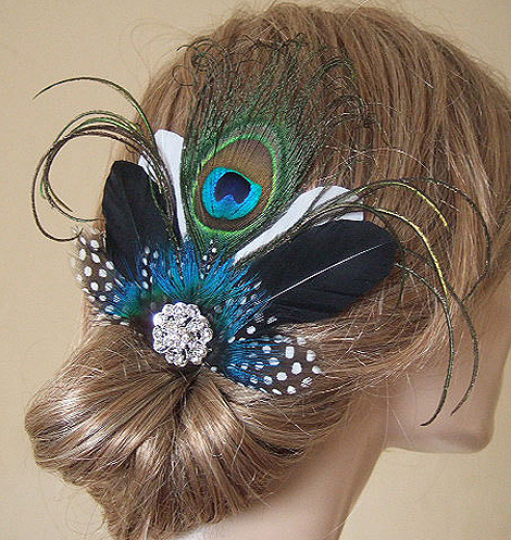 Peacock Fascinator with Guinea Fowl Feathers and Crystal Brooch Blue Green on Clip