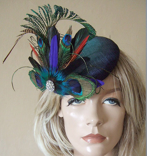 Peacock Pheasant Cluster and Crystal Brooch Blue Green Large Ombre Button Fascinator