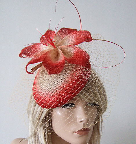 Red Natural Ombre Floral Sinamay Large Beret Headpiece Fascinator