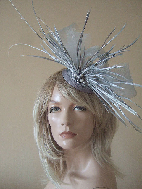 Silver and White Crin Quills and Goose Biot with Swarovski Large Fascinator