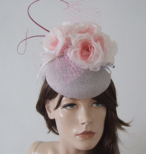 Silver Ivory Baby Pink Floral Veiled and Crystal Ascot Hat Headpiece Fascinator