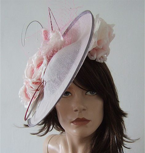 Silver Ivory Baby Pink Floral Veiled and Crystal Ascot Saucer Hat Headpiece Fascinator