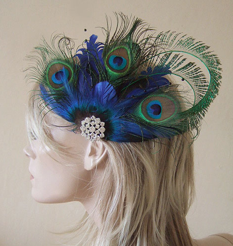 Bridal Curled Peacock Feathers Blue Green Hair Headpiece Clip Fascinator MNB110