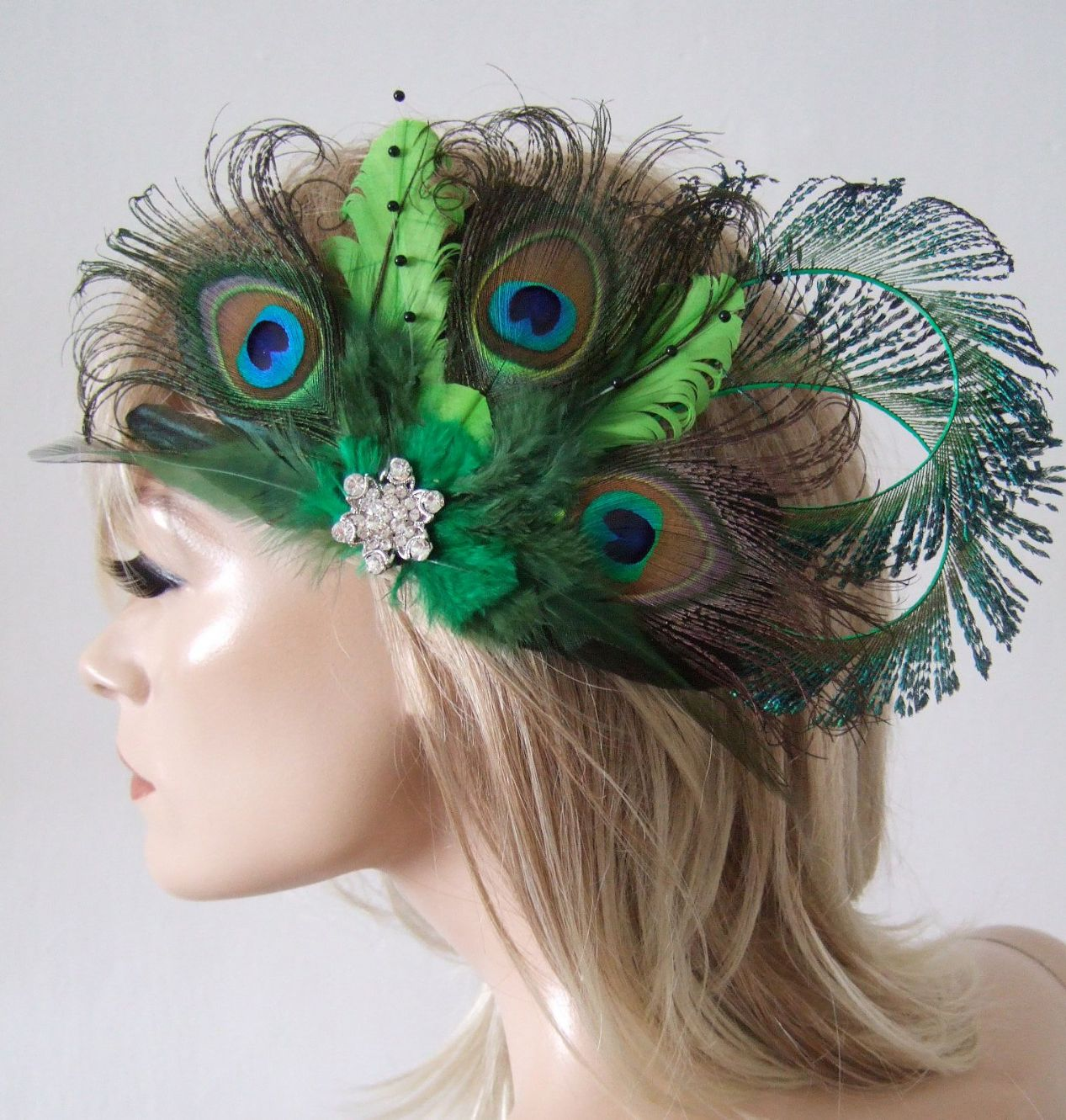 Bridal Curled Peacock Feathers Lime Olive Emerald Green Hair Headpiece Clip  Fascinator MNB118 b2f207a92f0