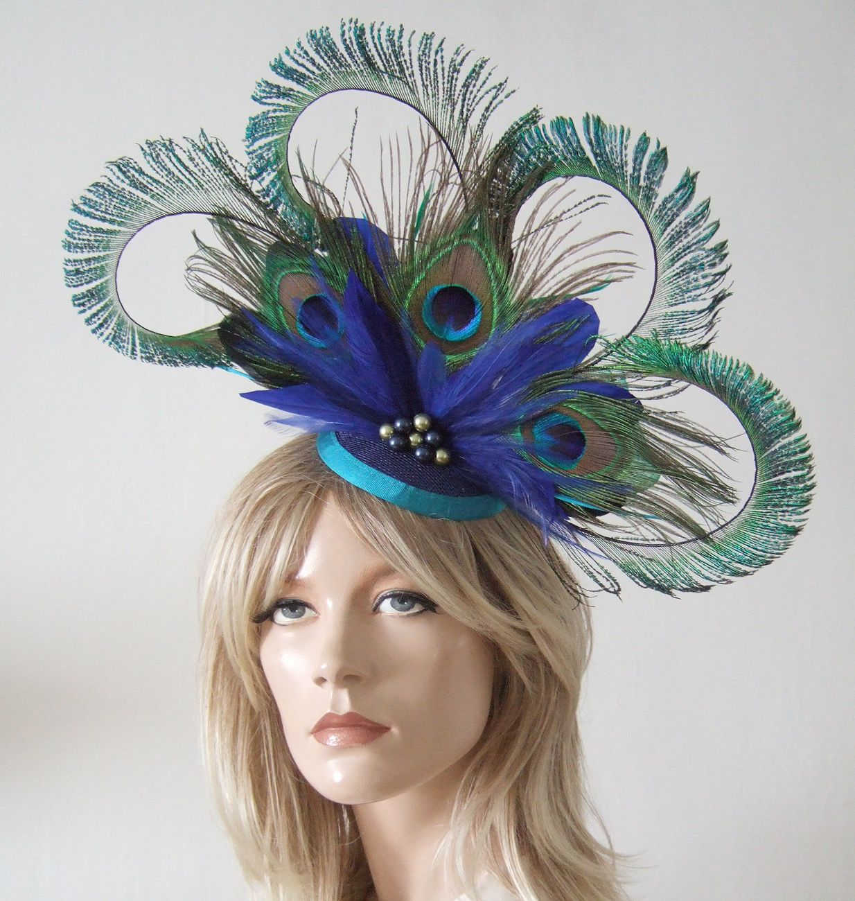Peacock Feathers Cluster and Crinoline and Swarovski Pearls Blue Green  Fascinator Headpiece Hat Hatinator. Hat for the Races. Melbourne Cup 062a9280b57