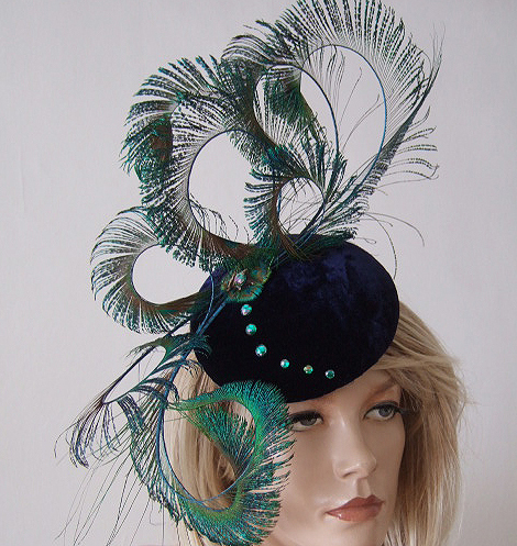 "Curled Peacock Feathers Navy Silk Velvet and Crystals Button Hat Headpiece ""Magalie"""