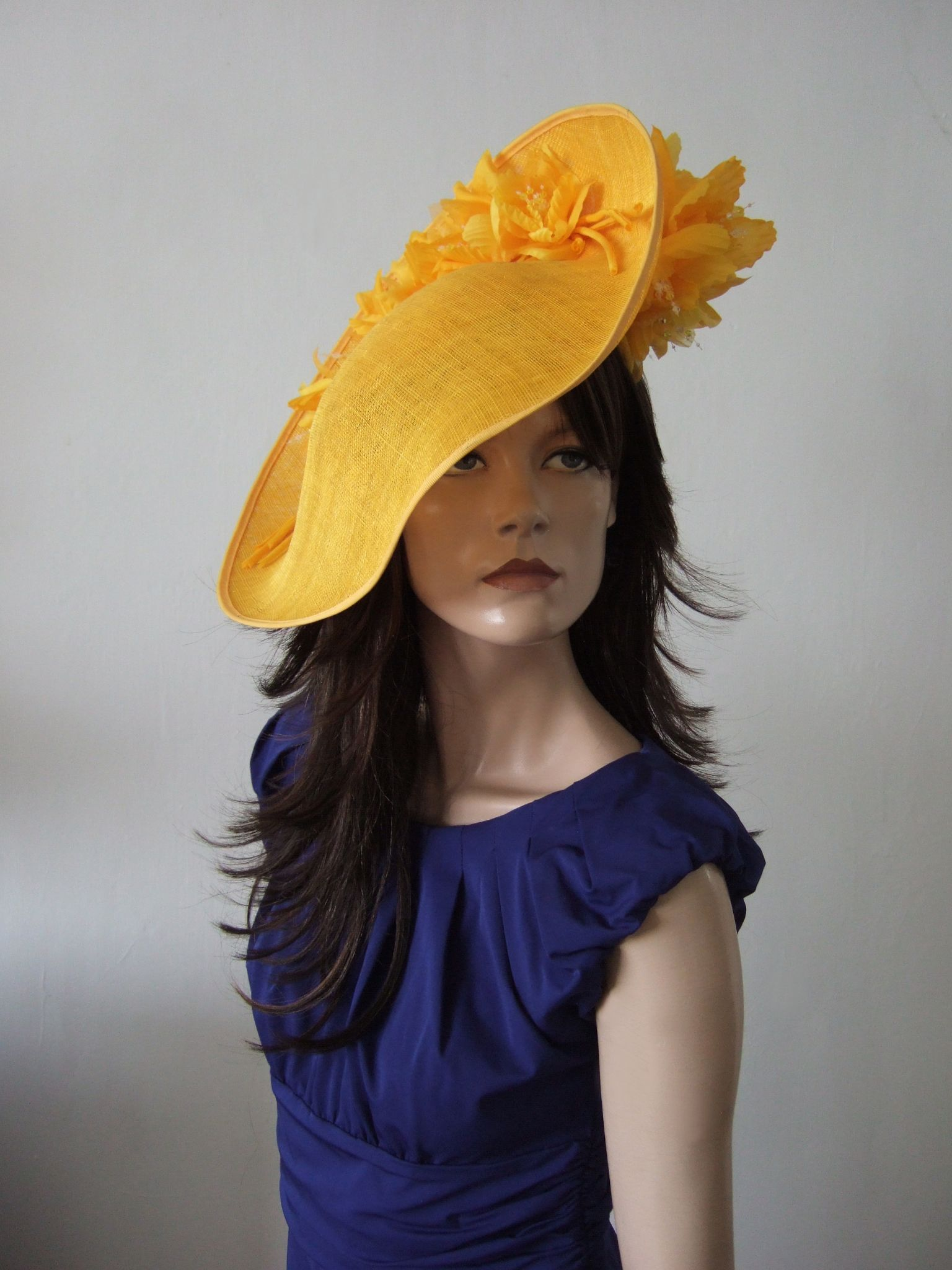 Golden Yellow Handmade Saucer Hat Hatinator With Silk Roses For