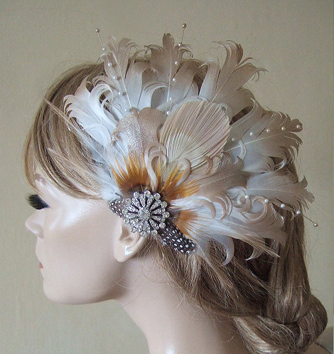 Ivory Gold Fascinator of Curled Goose Nagoire and Peacock with Crystal Brooch MNB116