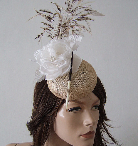 "Natural, White Floral with Pocupine Spike and Feathered Button Fascinator Headpiece Hat ""Machi"""
