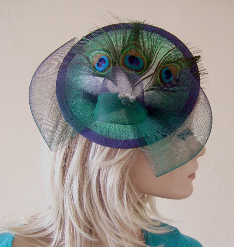 Peacock Navy Emerald Green White Ombre Saucer Feathered Fascinator Hatinator Hat Large Fascinator