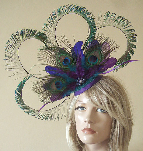 Purple Teal Blue Green Curled Peacock Feathers Cluster with Crinoline and Swarovski Pearls Headpiece