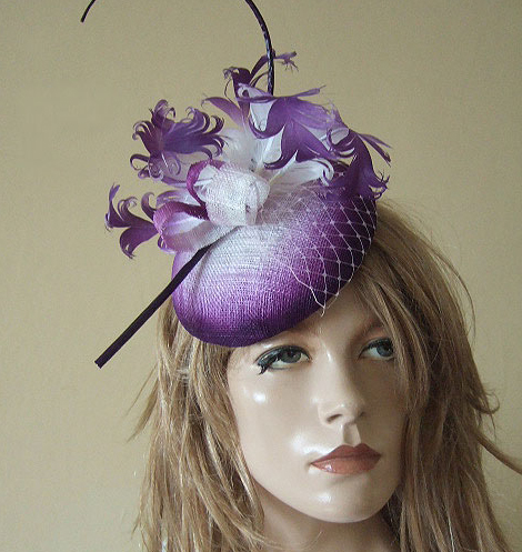 Purple White Ombre Curled Goose Nagoire Feathers Large Button Headpiece Fascinator