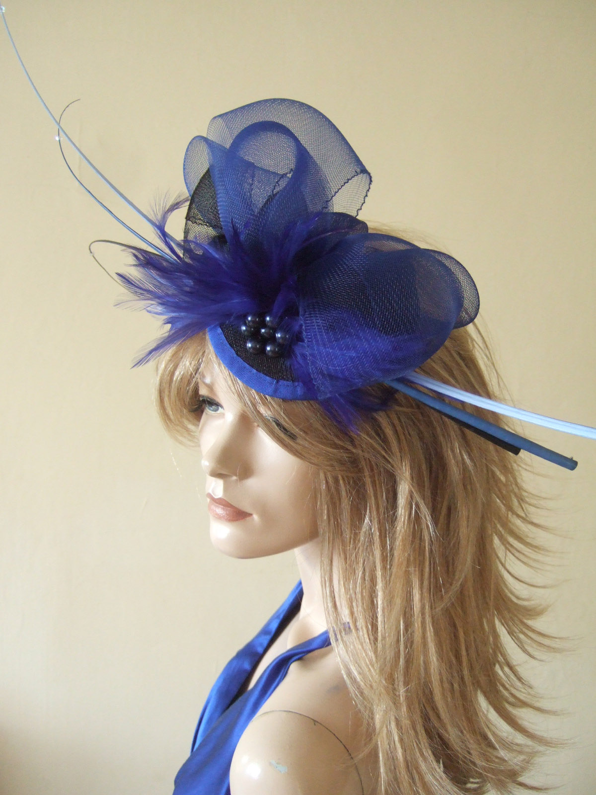 Royal Blue and Black Ostrich Quill Goose Biot and Crin Large Fascinator a45d522aac9
