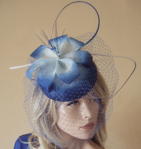 Royal Blue White Ombre Veiled and Crystal Large Button Headpiece Fascinator