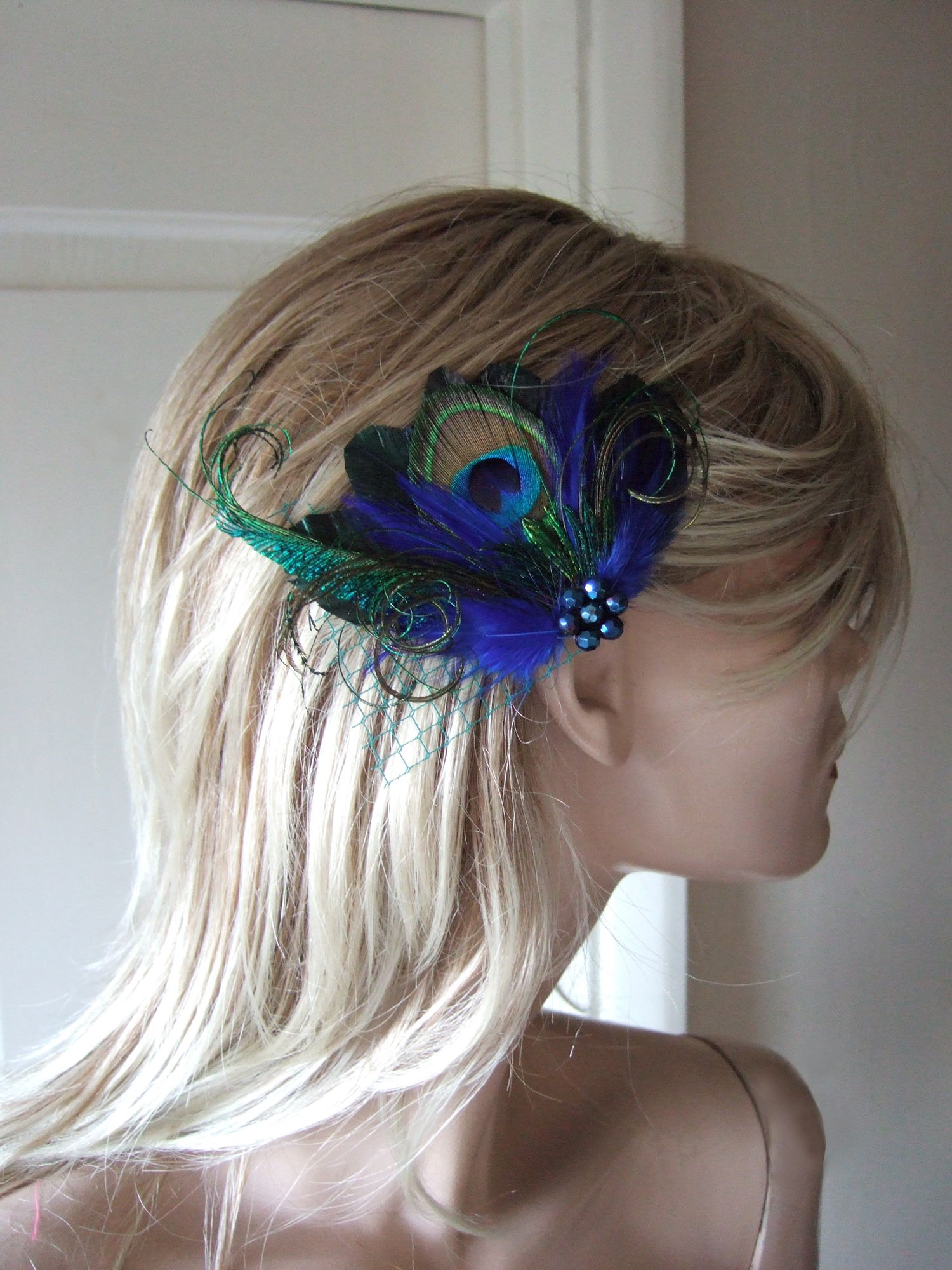 Royal Navy Blue Green Lilac Peacock Feathers Fascinator Hair Clip