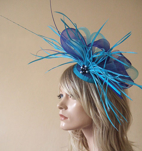 Turquoise and Royal Blue Ostrich Quill Goose Biot and Crin Large Fascinator