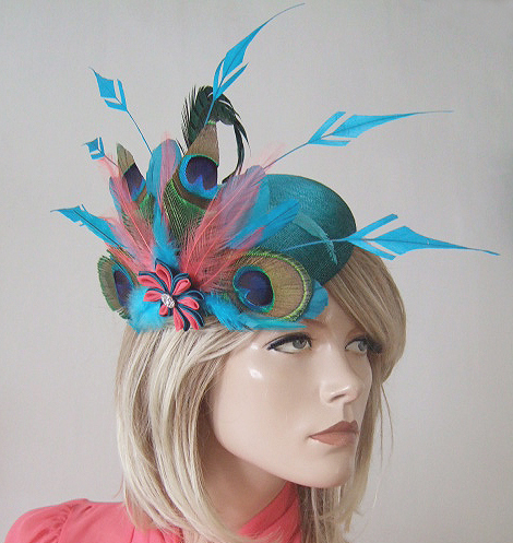 "Turquoise, Teal, Coral Peacock Large Ombre Button Headpiece Fascinator ""Myla"""
